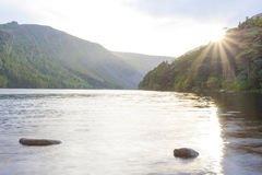 Glendalough lake. Landscape in lake of Glendalough in wicklow mountain, Ireland stock image
