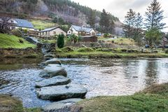 Glendalough river with stepping stones. Ireland, Wicklow stock images