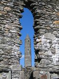 Glendalough round tower stock photography