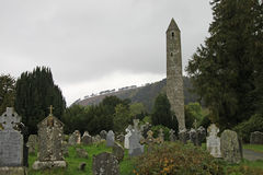 Glendalough Round Tower and the Wicklow Mountains National Park Stock Photos