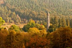 glendalough roundtower 免版税库存图片