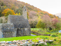 Glendalough Valley, Wicklow Mountains National Park, Ireland. Ancient church in monastic site Glendalough. Glendalough Valley, Wicklow Mountains National Park Stock Photos