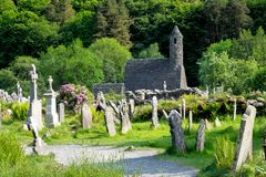 Glendalough is a village with a monastery in County Wicklow, Ireland royalty free stock images