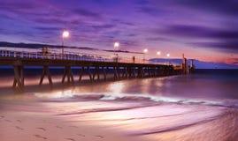 Glenelg-Anlegestelle in Adelaide, Süd-Australien Fotografiert bei Sonnenuntergang Lizenzfreie Stockbilder