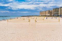 Volleyball , netball nets on Glenelg beach on sunny day Royalty Free Stock Photos
