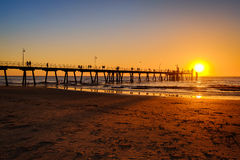 Glenelg beach jetty with people Stock Photography