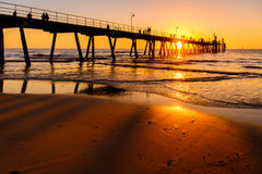 Glenelg beach jetty with people Royalty Free Stock Photography