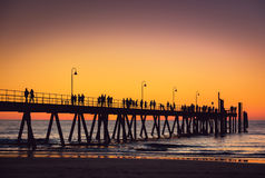 Glenelg beach jetty with people Royalty Free Stock Photos