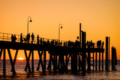 Glenelg beach jetty with people Stock Image