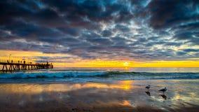 Glenelg Beach jetty at sunset Stock Photo
