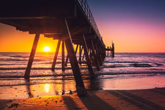 Glenelg-Strand-Anlegestelle bei Sonnenuntergang Stockfoto