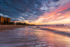 Glenelgstrand bij Zonsondergang, Zuid-Australië Royalty-vrije Stock Afbeelding