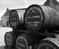 Glenfiddich distillery welcome barrels. Glenfiddich distillery - one of Scotland's oldest family owned distilleries royalty free stock photo