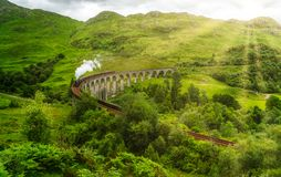 Glenfinnan Railway Viaduct with the Jacobite steam, in Lochaber area of the Highlands of Scotland. stock image
