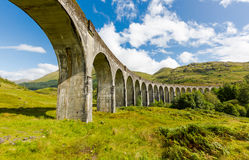 Glenfinnan historic rail viaduct in Scottish Highlands. Full frame panoramic view in sunny day royalty free stock photos