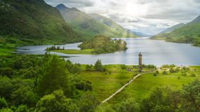 Glenfinnan Monument, at the head of Loch Shiel, Inverness-shire, Scotland. stock photo
