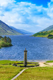 Glenfinnan Monument and Loch Shiel lake. Highlands Scotland Royalty Free Stock Image