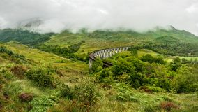 Glenfinnan railway viaduct location from Harry Potter movie royalty free stock photo