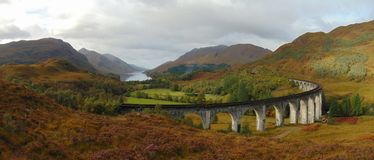 Glenfinnan viaduct and scenery royalty free stock photo
