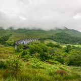 Glenfinnan viaduct in Scotland on overcast day. stock photos