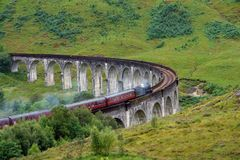 Glenfinnan Viaduct with steam train Stock Photography