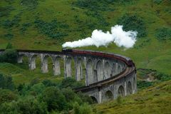 Glenfinnan Viaduct with steamtrain Stock Photography
