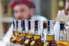 Whisky Dram Festival in Kiev, Ukraine. Glenlivet Single Malt Scotch Whisky Highland distillery booth at 3rd Ukrainian Whisky Dram Festival in Parkovy Exhibition stock photos