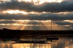 Glenmore behållarfartyg och solnedgång Fotografering för Bildbyråer