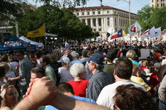 Glenn Beck at Tea Party. This is Glenn Beck at the San Antonio Tea Party rally at the Alamo April 15, 2009 with crowds of people Royalty Free Stock Photography