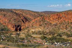 The Glenn Helen community in the West MacDonnell Ranges. The dry Finke River cutting through the gorges at Glen Helen in the West MacDonnell ranges royalty free stock photo