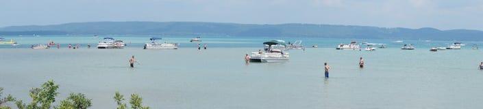 Glenn Lake, Michigan De Partij van de meerboot Royalty-vrije Stock Foto