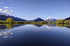 Glenorchy盐水湖,新西兰 免版税图库摄影