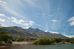 Glenorchy Bay Port, Queenstown, South Island, New Zealand. Scenic view of Lake Wakatipu, Glenorchy Queenstown Road Royalty Free Stock Photo