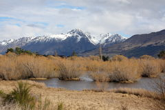 Glenorchy lagoon and mountains. In New Zealand Stock Photo