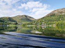 Glenridding Lake District, from Ullswater. Looking to accommodation and boat moorings royalty free stock image