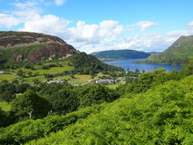 Glenridding and Ullswater, Lake District. The village of Glenridding and Ullswater in the Lake District in Northern England Stock Image