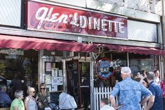 Glens Dinette on Fathers Day. Babylon, New York, USA - 17 June 2018: Customers patiently wait fot a table outside of Glens Dinnette in Babylon Village on Fathers royalty free stock image