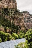 Glenwood Canyon in Colorado. Rocky cliff seen from inside Glenwood Canyon near Hanging Lake. Hanging Lake is a national park and popular tourist location for royalty free stock photo