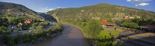 Glenwood Springs Colorado Panorama. Panoramic of the Colorado River in Glenwood Springs, Colorado stock photography