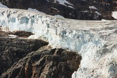 Gletscher bei Kolumbien Icefield Lizenzfreie Stockfotos