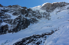 Gletscher im La-ernsten La Meije Lizenzfreie Stockfotografie