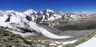 Gletscher Morteratsch und Pers von Munt Pers 3207m Stockfoto