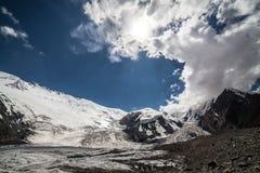 Gletscher nahe der Lenin-Spitze Pamir-Region kyrgyzstan Lizenzfreies Stockfoto