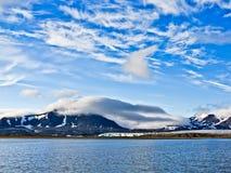 Gletscher Shumniy auf Novaya Zemlya (neues Land) Stockbild
