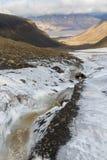 Gletscher und Tal Longyear in Svalbard Longyearbyen im backgro Stockfoto