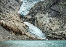 Gletsjer Briksdal, Noorwegen. Stock Foto