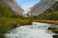 Gletsjer Briksdalen Stock Foto