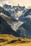Gletsjer D Argentiere en Berg waaier-Frankrijk royalty-vrije stock foto's