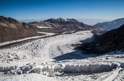 Gletsjer dichtbij de piek van Lenin Het gebied van Pamir kyrgyzstan Royalty-vrije Stock Foto's