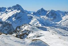 Gletsjer en bergketen Stock Fotografie
